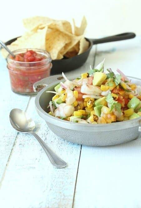 Fresh shrimp ceviche with salsa.