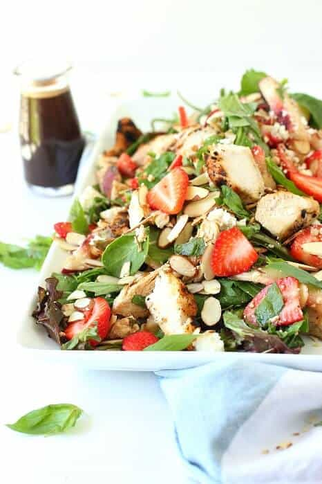 Fresh spring greens with balsamic chicken and strawberries