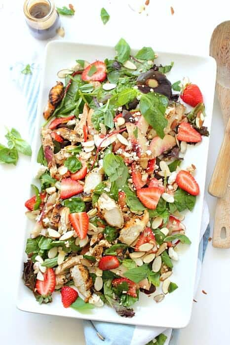 Strawberry balsamic chicken salad perfect for a summer party