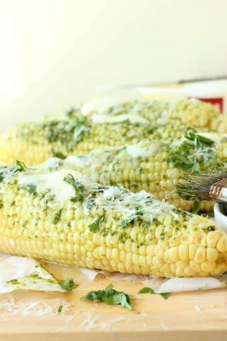 Juicy corn with butter and chimmichuri sauce