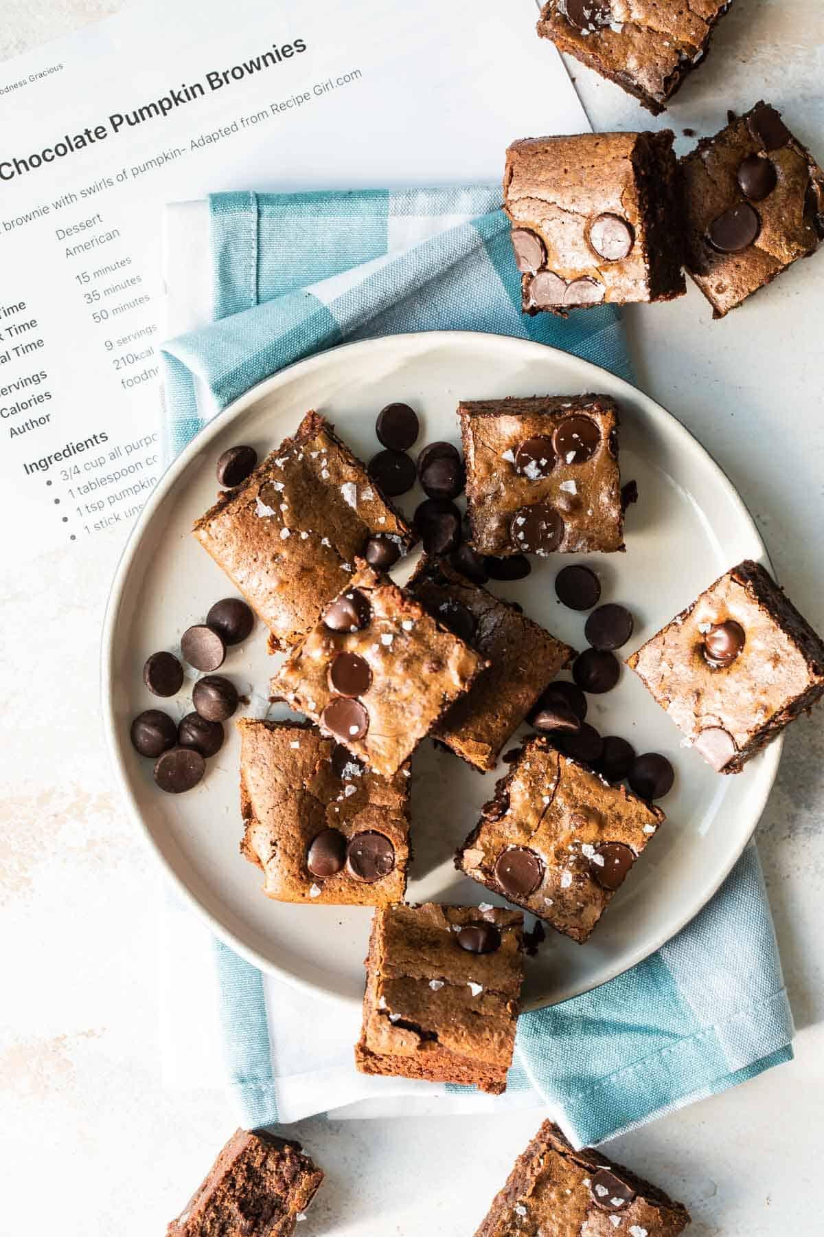 chocolate pumpkin brownies on a plate