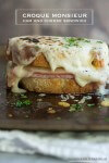 A traditional french ham and cheese sandwich smothered in creamy béchamel