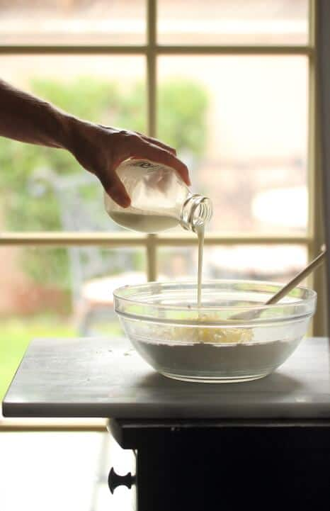 Making fresh pumpkin biscuits with buttermilk