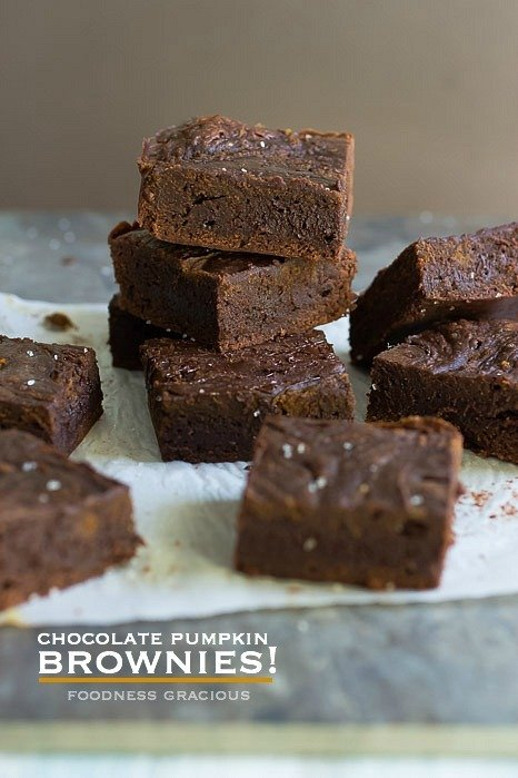 Moist chocolate pumpkin brownies with a touch of cinnamon