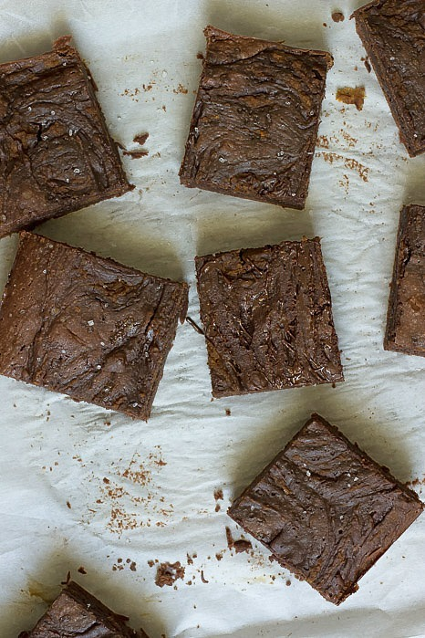 Fudgy and rich chocolate pumpkin brownies