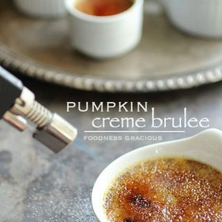 Rich and creamy pumpkin creme brulee with white chocolate