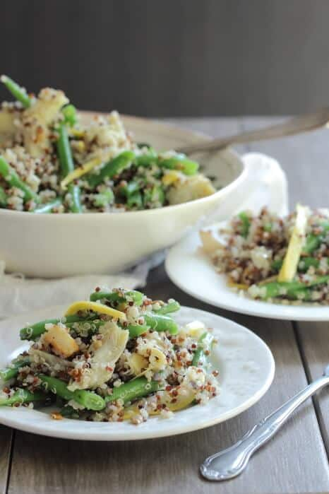 Quinoa Salad with Green Beans and Artichokes - Foodness Gracious