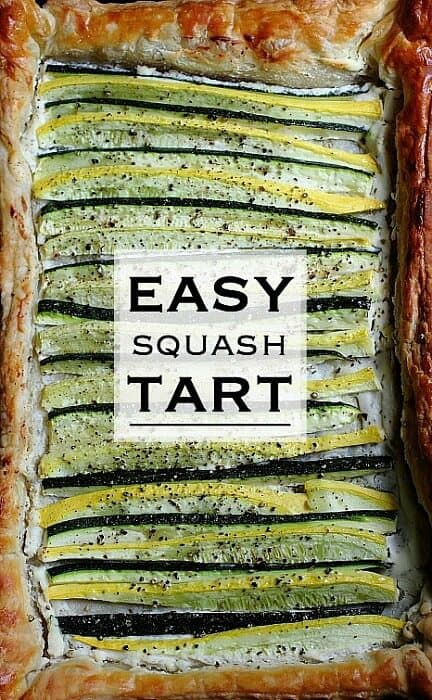 A puff pastry squash tart filled with creamy cheese spread and baked until crispy