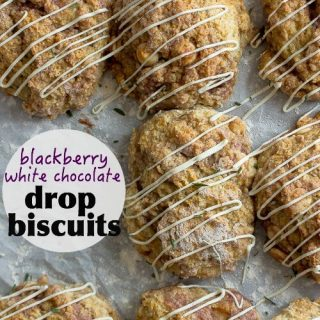 Soft and light drop biscuits with a blackberry swirl