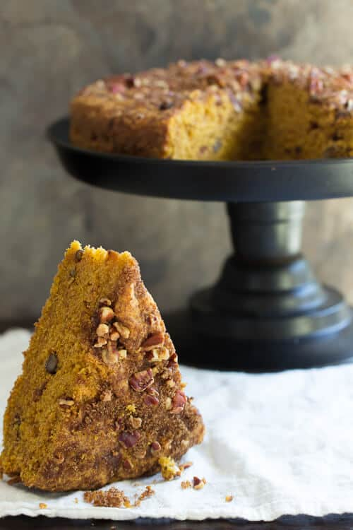Pumpkin Coffee cake with a crunchy nutty Streusel topping