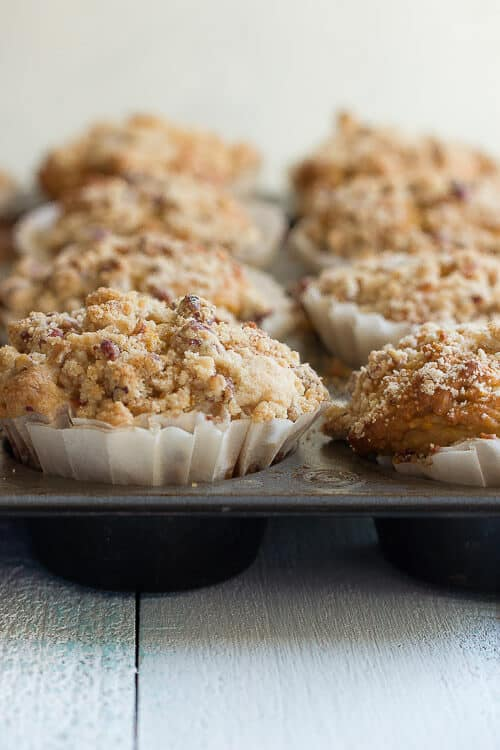 Fresh baked pumpkin spice muffins with a crumble topping