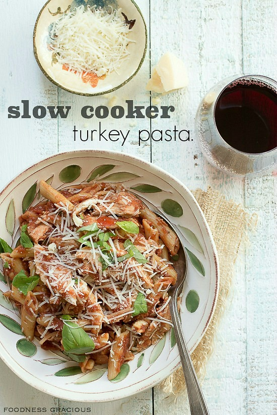 Penne pasta with turkey in a rich tomato herb sauce