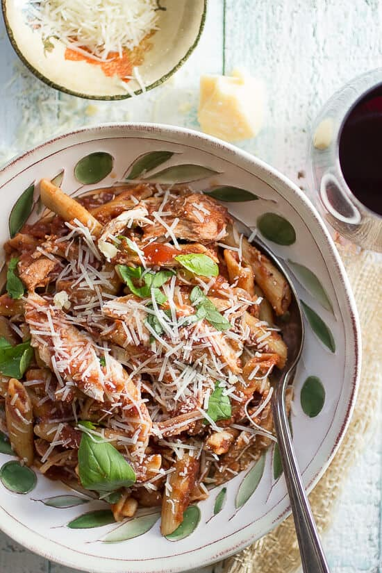 Slow cooker tomato sauce with turkey, penne pasta and fresh herbs