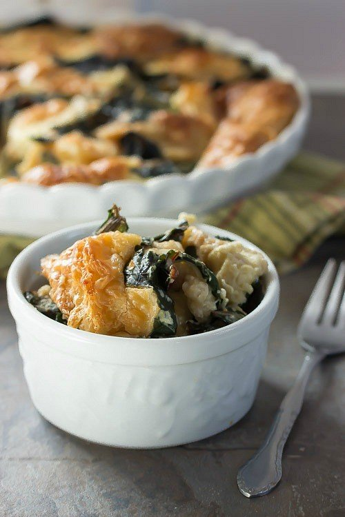 Creamy rich bread pudding with rainbow chard