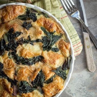 Savory Rainbow Chard Bread Pudding