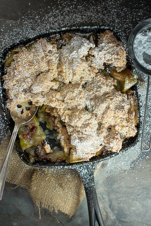 A perfect holiday dessert, raisin apple cobbler