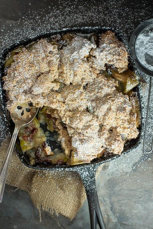 A perfect holiday dessert, raisin apple cobbler