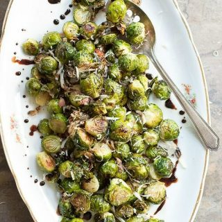 Crispy brussels sprouts tossed with balsamic and Parmesan cheese