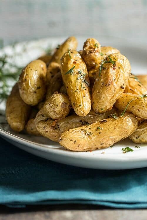 Roast Fingerling Potatoes with Garlic and Rosemary - Foodness Gracious