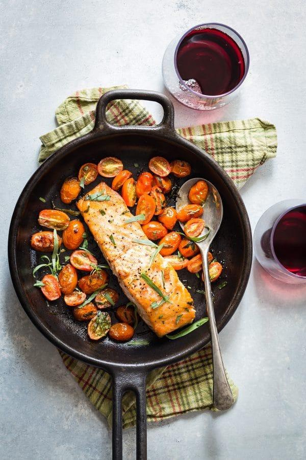 seared salmon in a cast iron pan