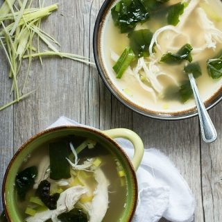 A flavorful chicken soup with leeks and rainbow chard