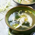 Chicken soup with fresh rainbow chard