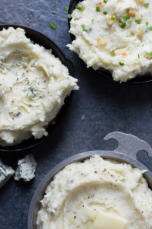 Three different flavors of creamy mashed potatoes