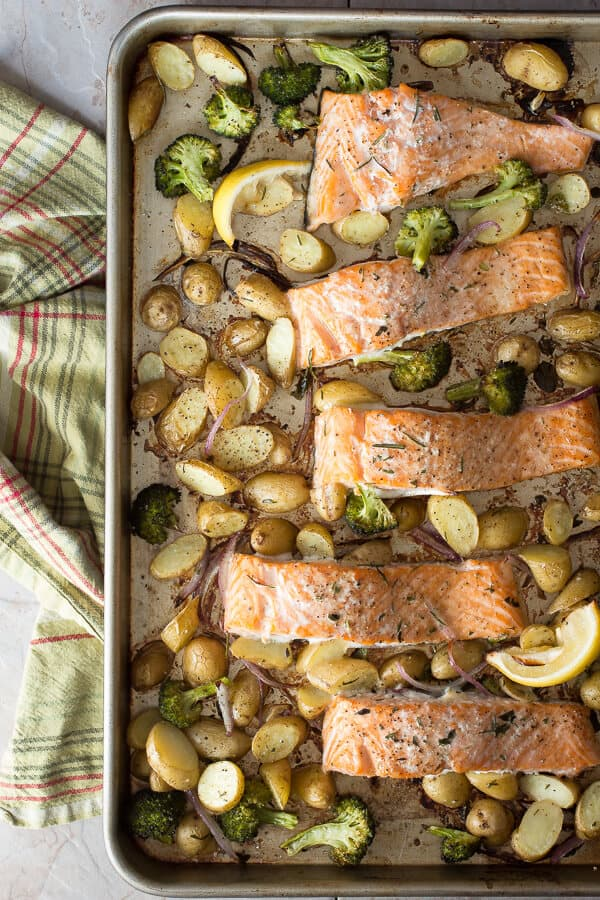 Easy oven baked salmon foodness gracious oven baked salmon with herbs white wine and baby potatoes forumfinder Gallery
