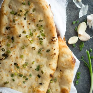 Chewy garlic naan bread.