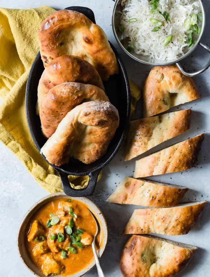 Chicken Tika Masala with rice and garlic naan bread