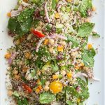 Healthy quinoa with fresh spinach leaves and vegetables tossed in a red wine garlic vinaigrette