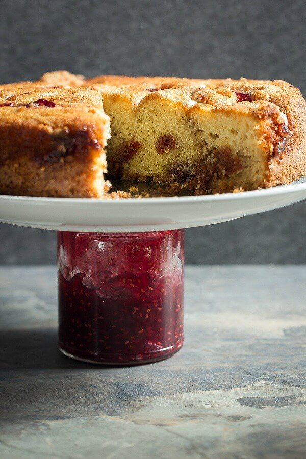 White chocolate and raspberry filled coffee cake