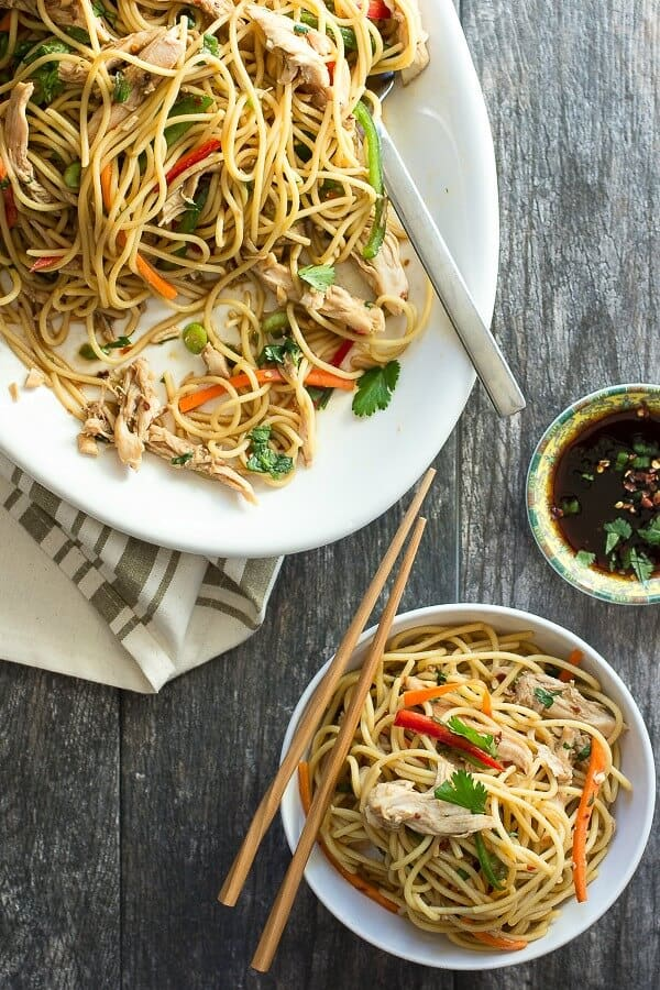 Asian style chicken pasta salad