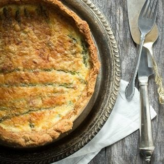 Creamy asparagus quiche with queso fresco