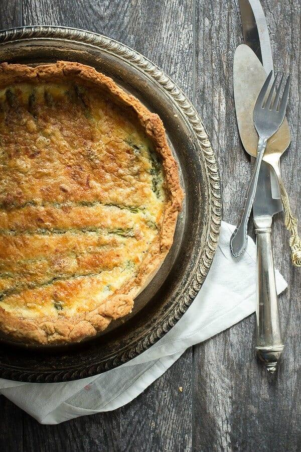 Creamy asparagus quiche with queso fresco