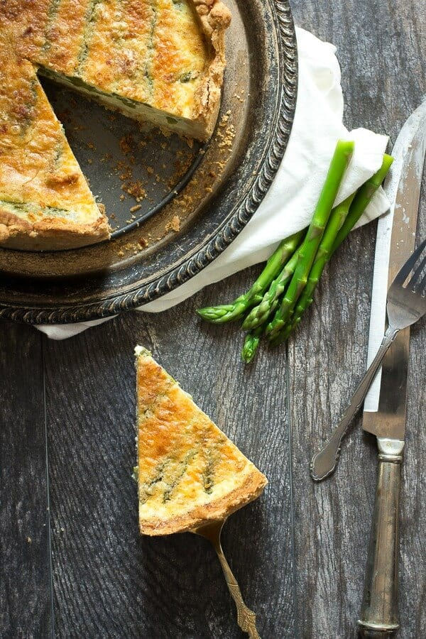 This is the best asparagus quiche. rich and creamy and perfect for brunch