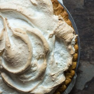 Blood orange curd pie with a crispy meringue topping