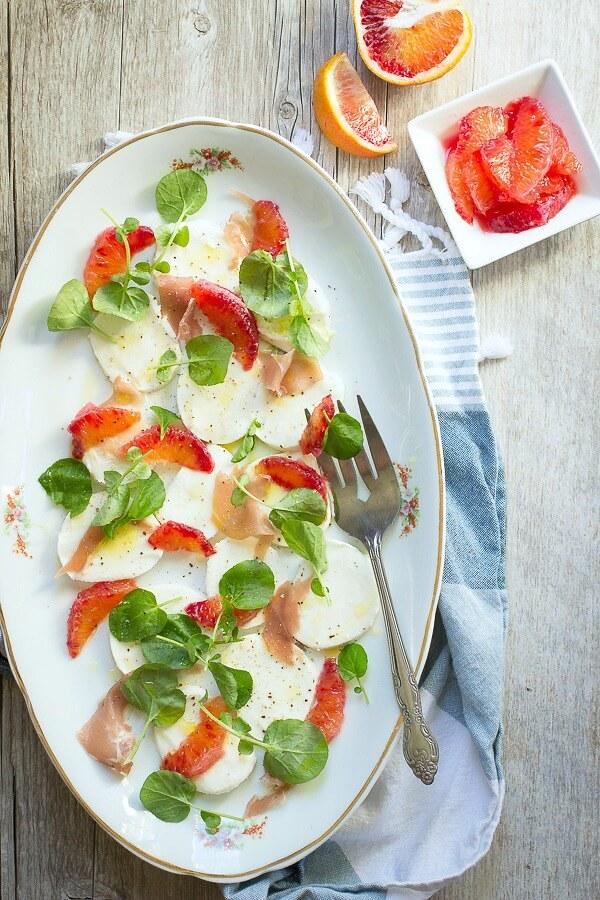 Blood Orange Salad with Mozzarella and Prosciutto