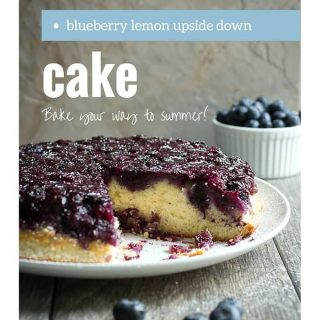 Light upside down cake topped with fresh blueberries