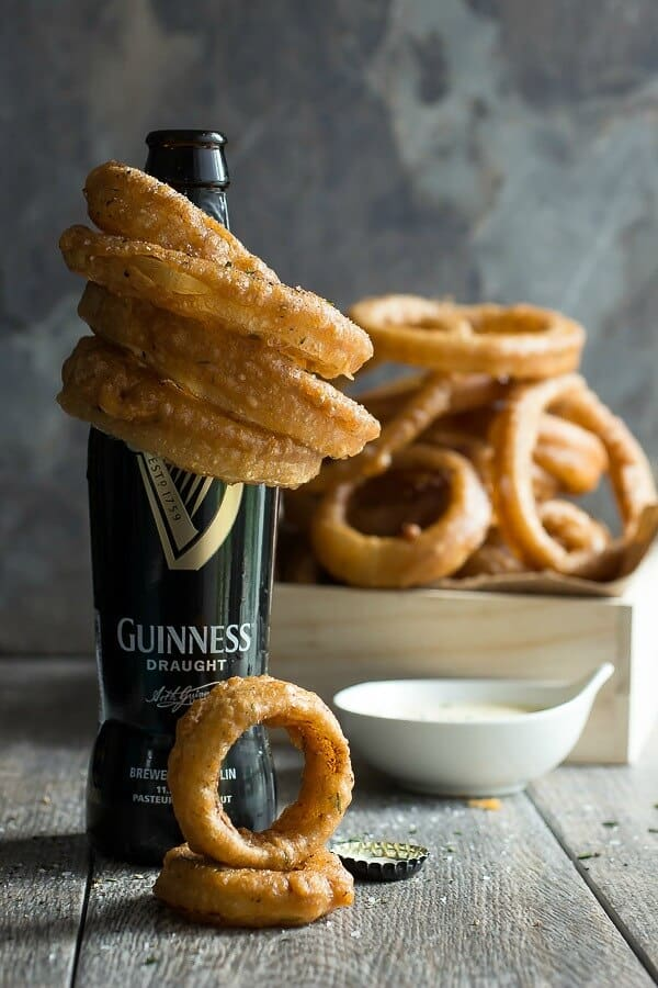 Crispy Guinness beer battered onion rings with a Dijon mustard dip and seasoned with fresh rosemary.