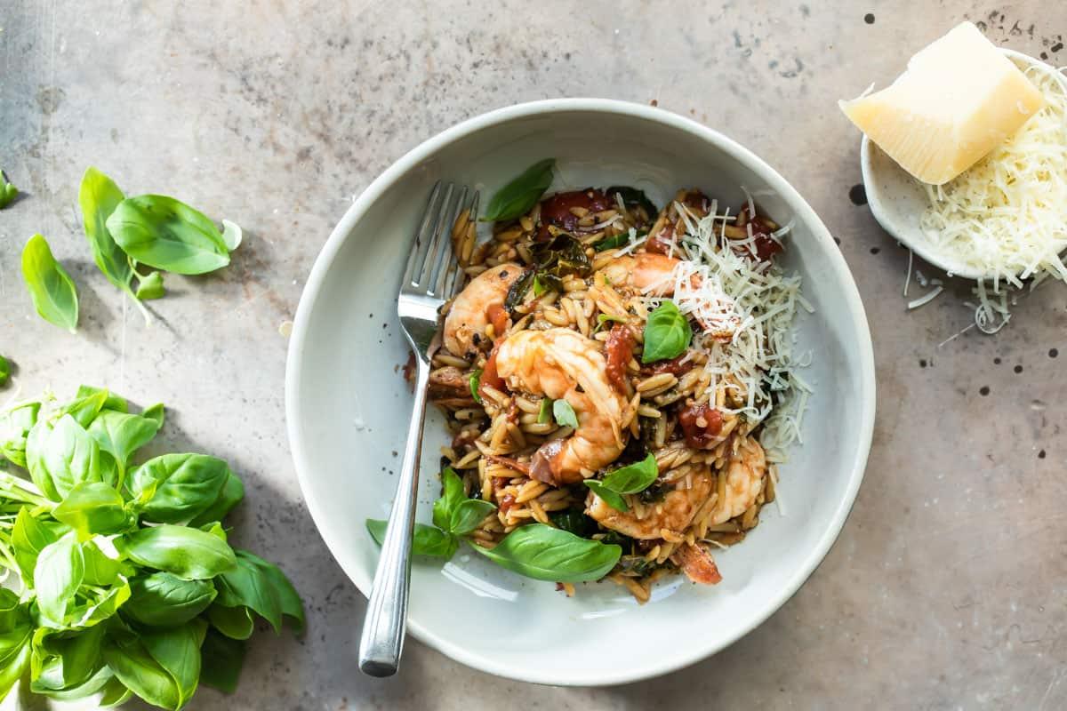 Easy One Pan Shrimp Orzo Pasta