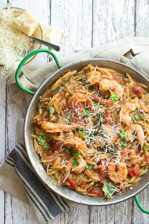 Tasty one pot shrimp orzo makes this a great choice for dinner.