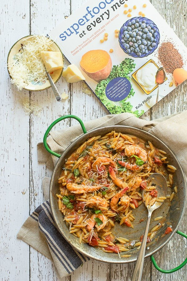 One pot shrimp orzo, full of giant shrimp cooked in a balsamic an tomato broth, ready in only 30 minutes