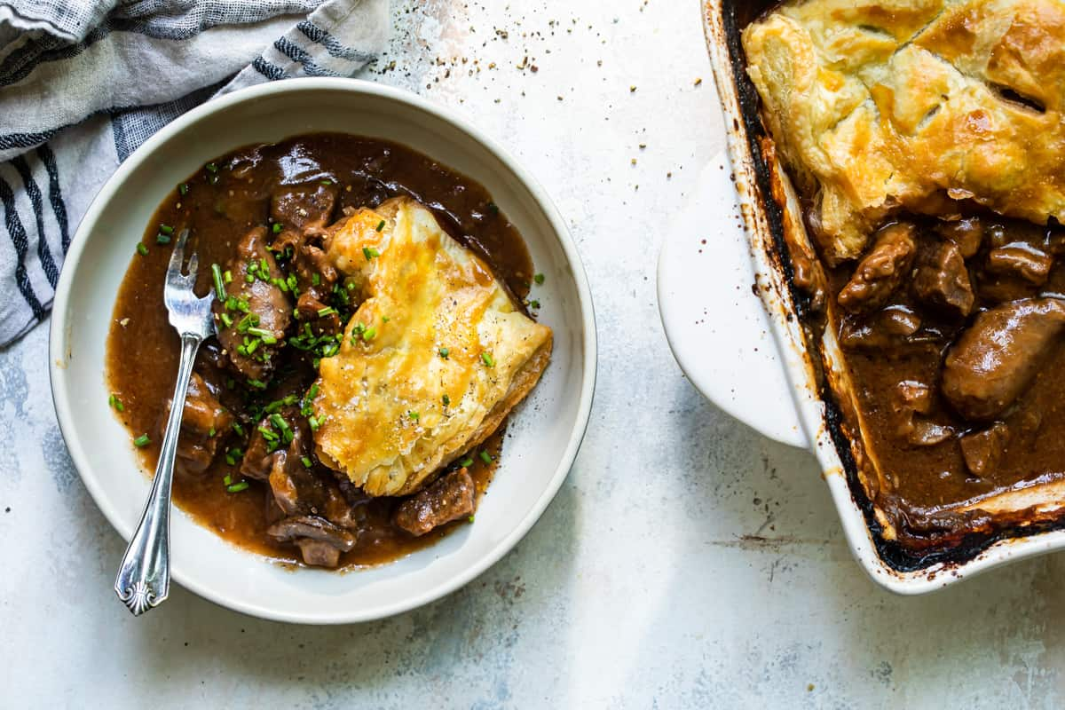 Rich Steak Pie with Sausage and Mushrooms