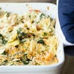 Chicken casserole with pasta, artichokes and cheese