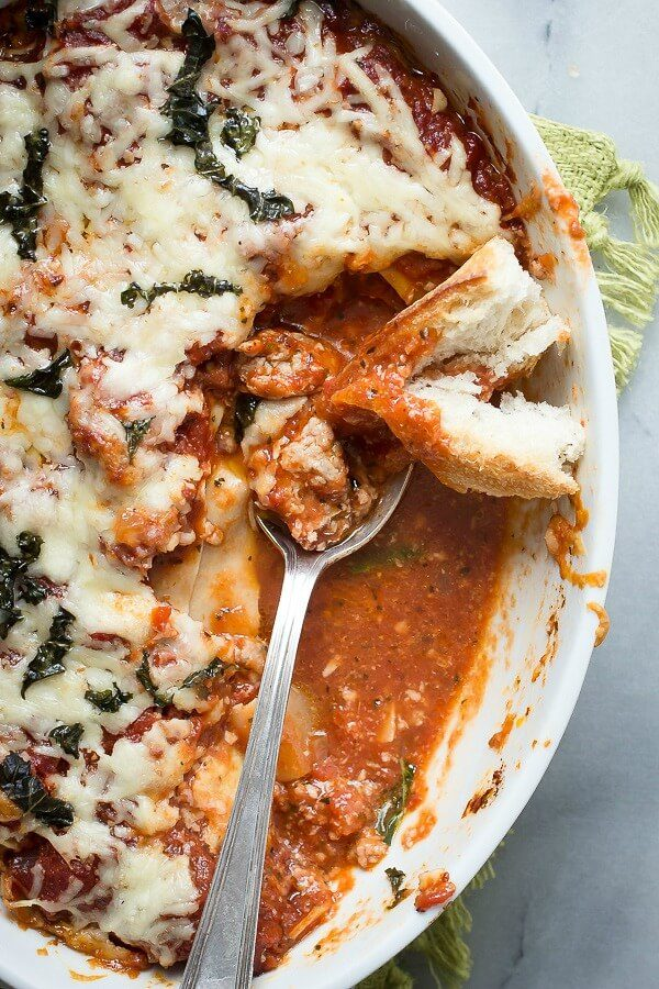Layers of rich tomato sauce, Italian sausage and pasta