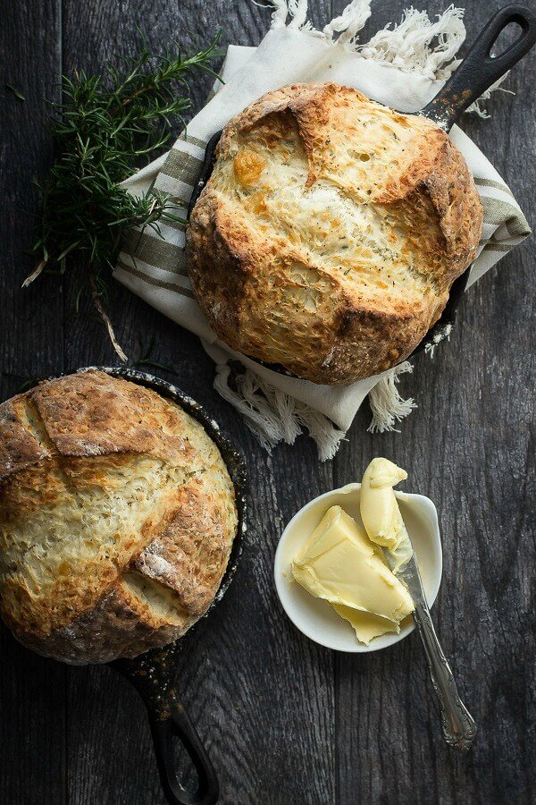 Crusty Irish soda bread with sharp cheddar and fresh rosemary