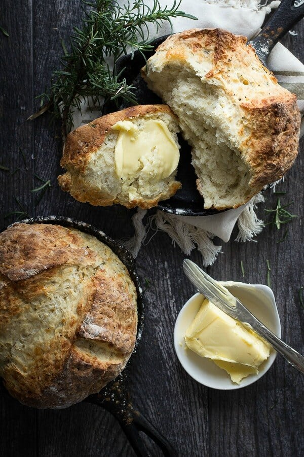 Cheesy Irish soda bread with fresh rosemary herbs
