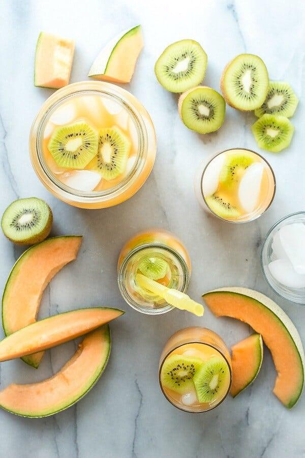 Cantaloupe Melon and Kiwi Agua Fresca