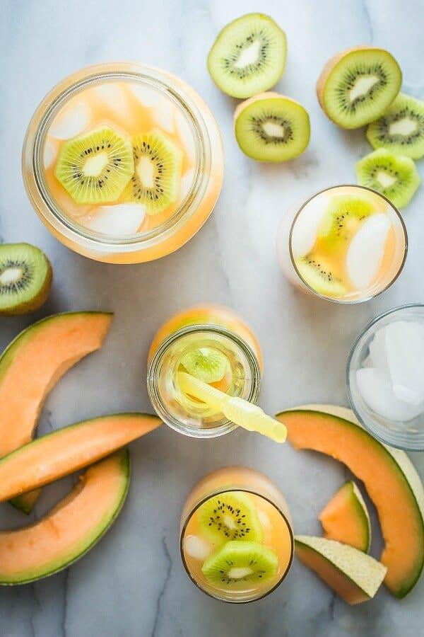 Cantaloupe and kiwi agua fresca